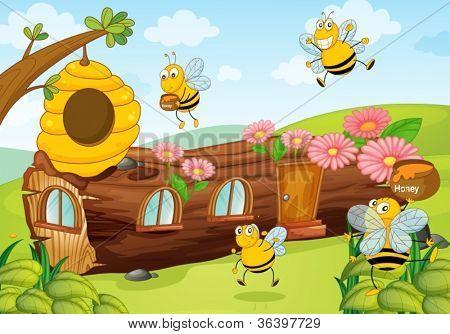 Ilustración de las abejas de miel y casa de madera
