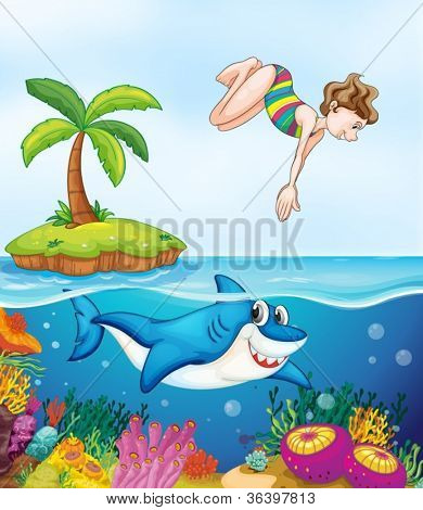 illustration of island, coral, shark and girl diving on a shore