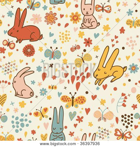 Funny cartoon seamless pattern for children background. Rabbits and butterflies