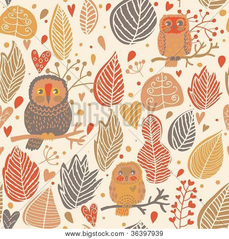 Autumn seamless pattern. Owls in the forest