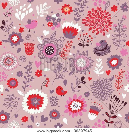 Glamour seamless pattern. Romantic floral cartoon background with birds in vector