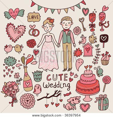 Bonito casamento. Big cartoon romântico definido em vetor