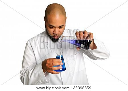 African American laboratory worker mixing chemicals isolated over white background