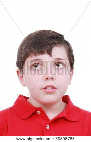 A boy thinking about school