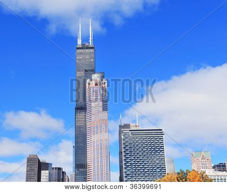 CHICAGO, IL - OCT 1: Willis tower close up on October 1, 2011 in Chicago, Illinois. Willis Tower know as the famous landmark is 1451 feet high as the world's tallest for 25 years since its completion.