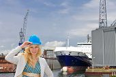 stock photo of shipbuilding  - Woman engineer shipbuilder at the shipyard - JPG