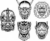 stock photo of deuce  - Japanese Demonic Noh Theatrical Masks - JPG