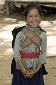 stock photo of hmong  - Hmong girl with brother Laos children in Asia - JPG