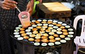 stock photo of yangon  - Coconut pudding made of rice flour,cocunut milk palm sugar in Yangon ,Burmese