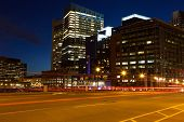 stock photo of prudential center  - Boston streets by night Massachusetts  - JPG