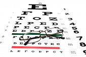 stock photo of snellen chart  - A pair of reading glasses on a Snellen eye exam chart to test eyesight accuracy - JPG
