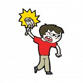 foto of thors hammer  - cartoon boy with magic hammer - JPG
