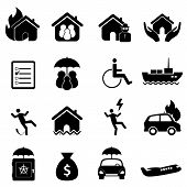 picture of fire insurance  - Insurance icon set in black on white - JPG