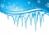 foto of icicle  - Winter background  with icicles - JPG