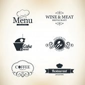 image of chef knife  - Label set for restaurant and cafe - JPG