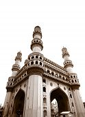 stock photo of charminar  - 400 year old historic charminar monument in Hyderabad India - JPG