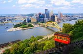 image of washington skyline  - Incline operating in front of the downtown skyline of Pittsburgh - JPG