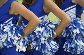 pic of pom poms  - Midsection of young female cheerleaders holding pom - JPG