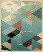 image of illustration  - Abstract Retro Geometric Background with clouds - JPG