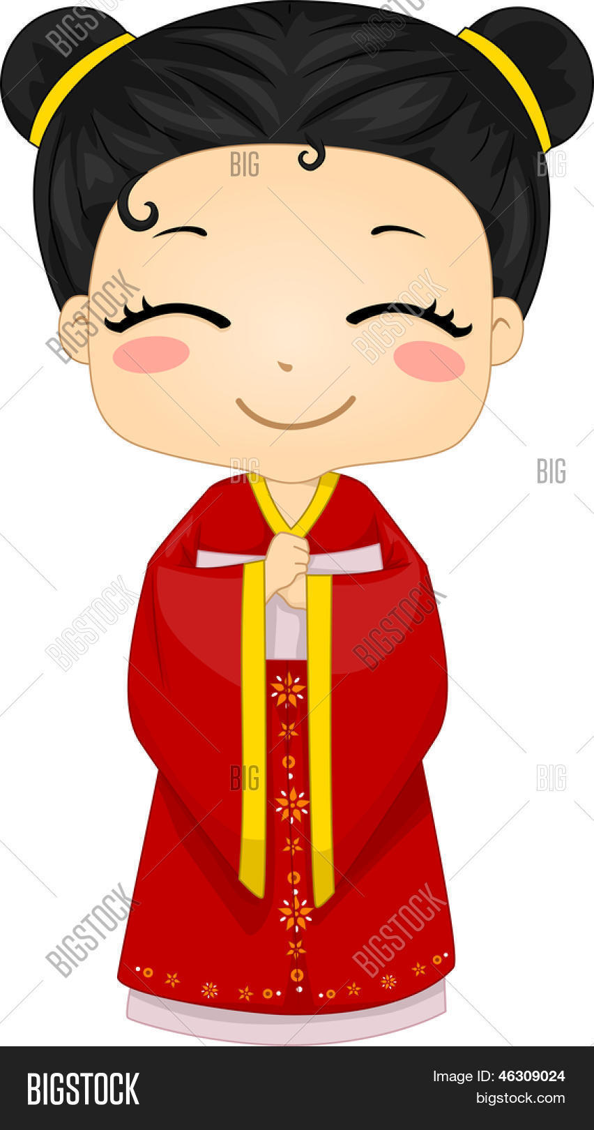 Illustration Of Cute Little Chinese Girl Wearing