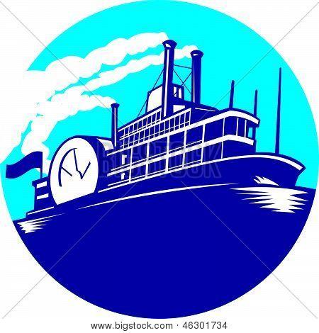 Steamboat Ferry passageiros navio Retro