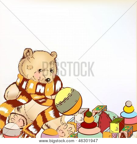 Cute Hand Drawn Plush Bear With  Toys For Design