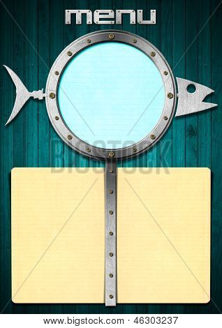 Fish Menu With Metal Porthole