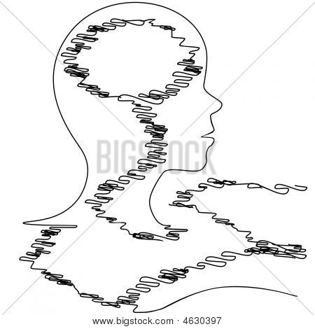 Stock vector : Profile Silhouette Thread Person Strung Out At Loose Ends