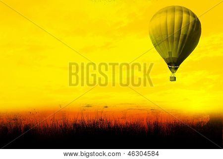 Hot Air Balloon Flying At sunset