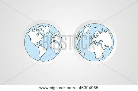 Hand draw vintage vector illustration of world globe isolated on grey background
