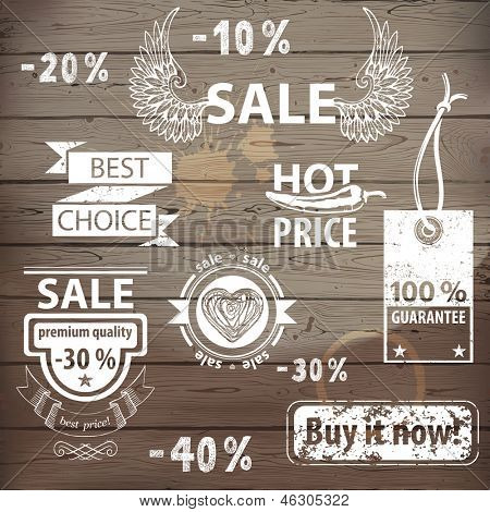 Great sale icons set with hand drawn design elements.