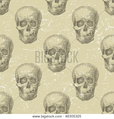 Retro-styled background with hand drawn skulls