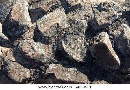 Texture Large Rock Cement Mixed Wall