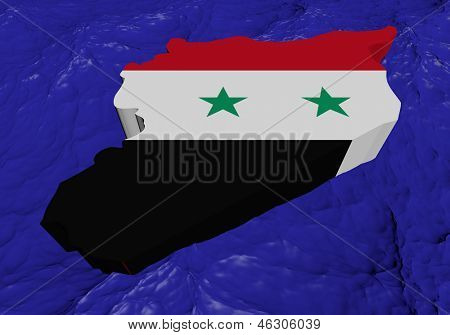 Syria map flag in abstract ocean illustration