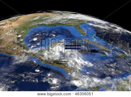 Honduras flag on pole on earth globe illustration - Elements of this image furnished by NASA