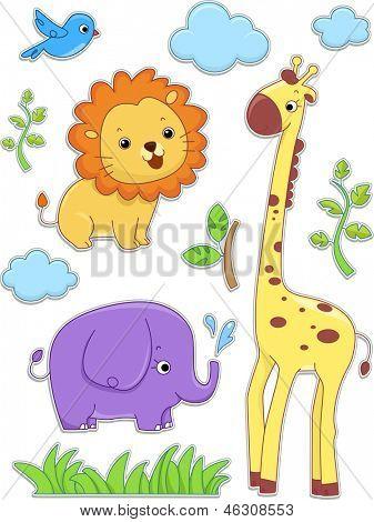 Illustration of Safari Animals Sticker Designs