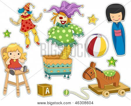 Illustration of Different Toys Stickers