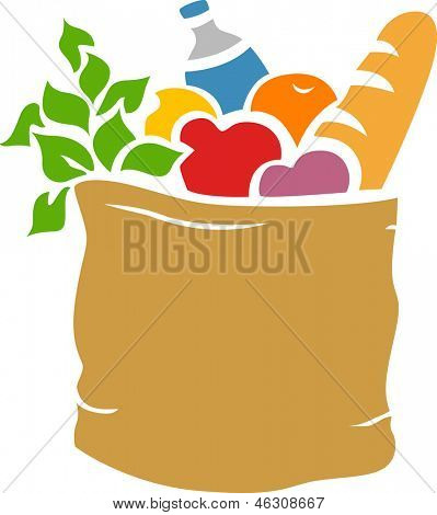 Illustration der Grocery Bag voller Lebensmittel-Schablone