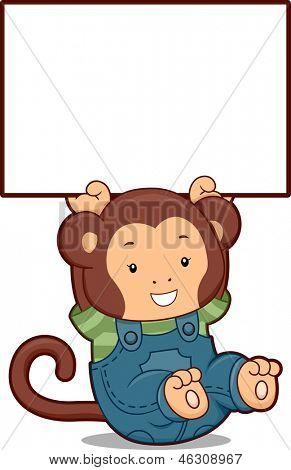 Illustration of a Monkey in Denim Jumper holding up a Blank Board