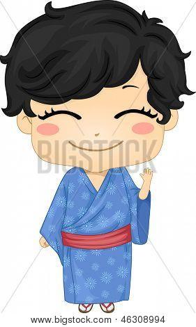 Illustration of Cute Little Japanese Boy wearing Traditonl Costume