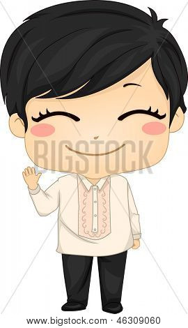 Illustration of Cute Little Filipino Boy Wearing Traditional Costume Barong Tagalog