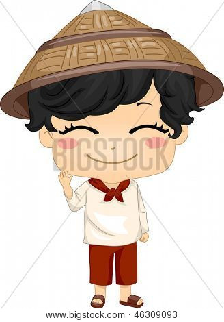 Illustration of Cute Little Filipino Boy Wearing Traditional Costume Kamisa de Chino