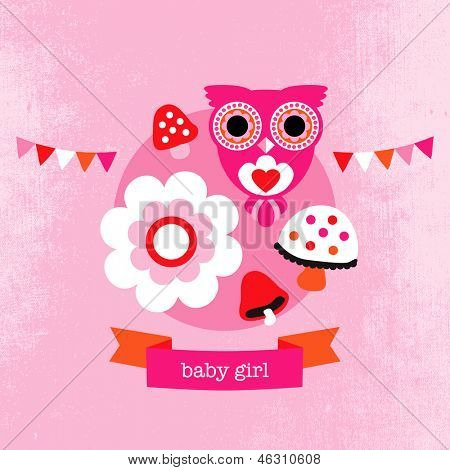 Adorable owl flower blossom illustration little girl baby announcement card template in vector