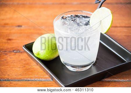 Glass Of Fresh Homemade Iced Lemon Soda