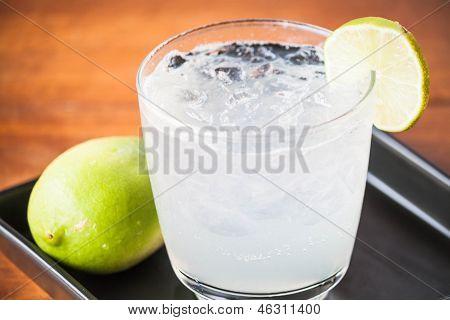 Fresh Homemade Iced Lemon Juice Soda Close Up