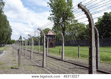 OSWIECIM - MAY 26: Barbwire fence in the former German concentration camp in Oswiecim, Poland on May 26, 2013. Oswiecim was the German concentration camp on Polish territory during World War II.
