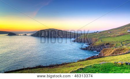 Dunquin bay in Co. Kerry at sunset, Ireland