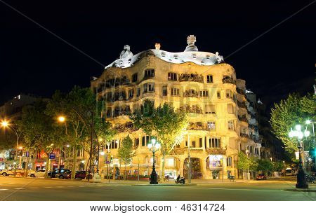 BARCELONA, SPAIN - MAY 7, 2013: Casa Mila or La Pedrera on May 7, 2013 in Barcelona, Spain. This famous building was designed by Antoni Gaudi and is one of the most visited of the city.