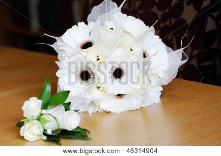 Brides White Bouquet And Mothers Corsage