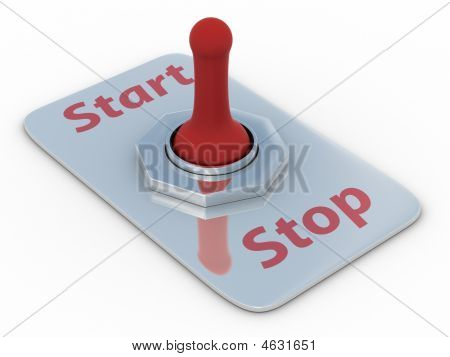 Red Switch On A White Background. 3D Image